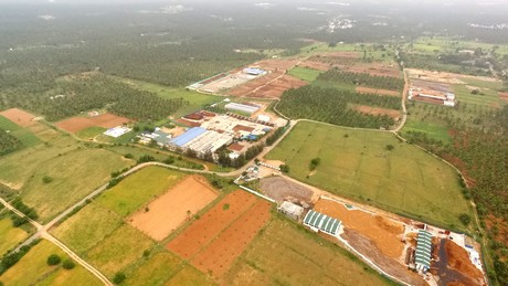 FibreDust India production location Anar Coir. About 40 hectare drying and processing facilities.