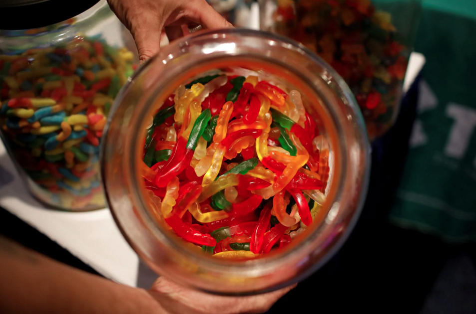 A jar of CBD gummy candies at The Cannabis World Congress & Business Exposition trade show in New York City. REUTERS/Mike Segar (Mike Segar/Reuters)