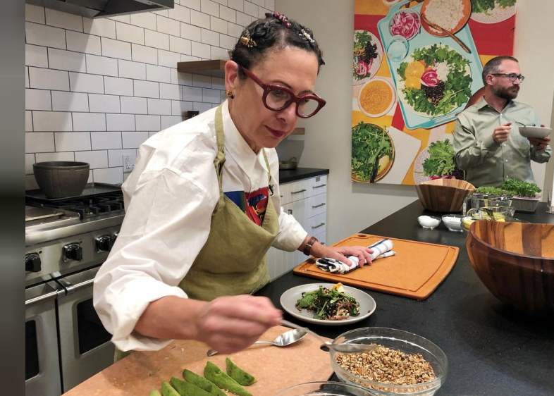 Chef and Plenty advisory board member Nancy Silverton prepares a salad during a demonstration in San Francisco, California, U.S., June 11, 2019. Picture taken June 11, 2019. REUTERS/Jane Lanhee Lee