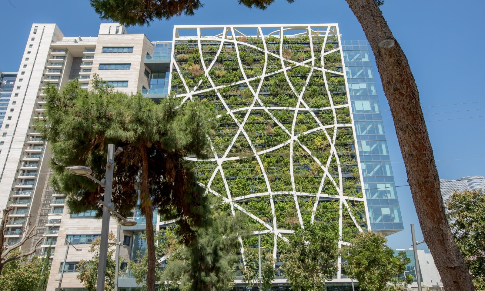 A vertical forest on the exterior of a building creates a protective ecological shell. Photo courtesy of Vertical Field