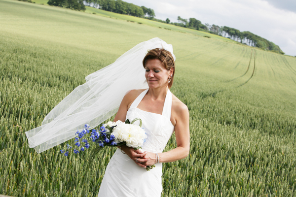 bride in wheat field