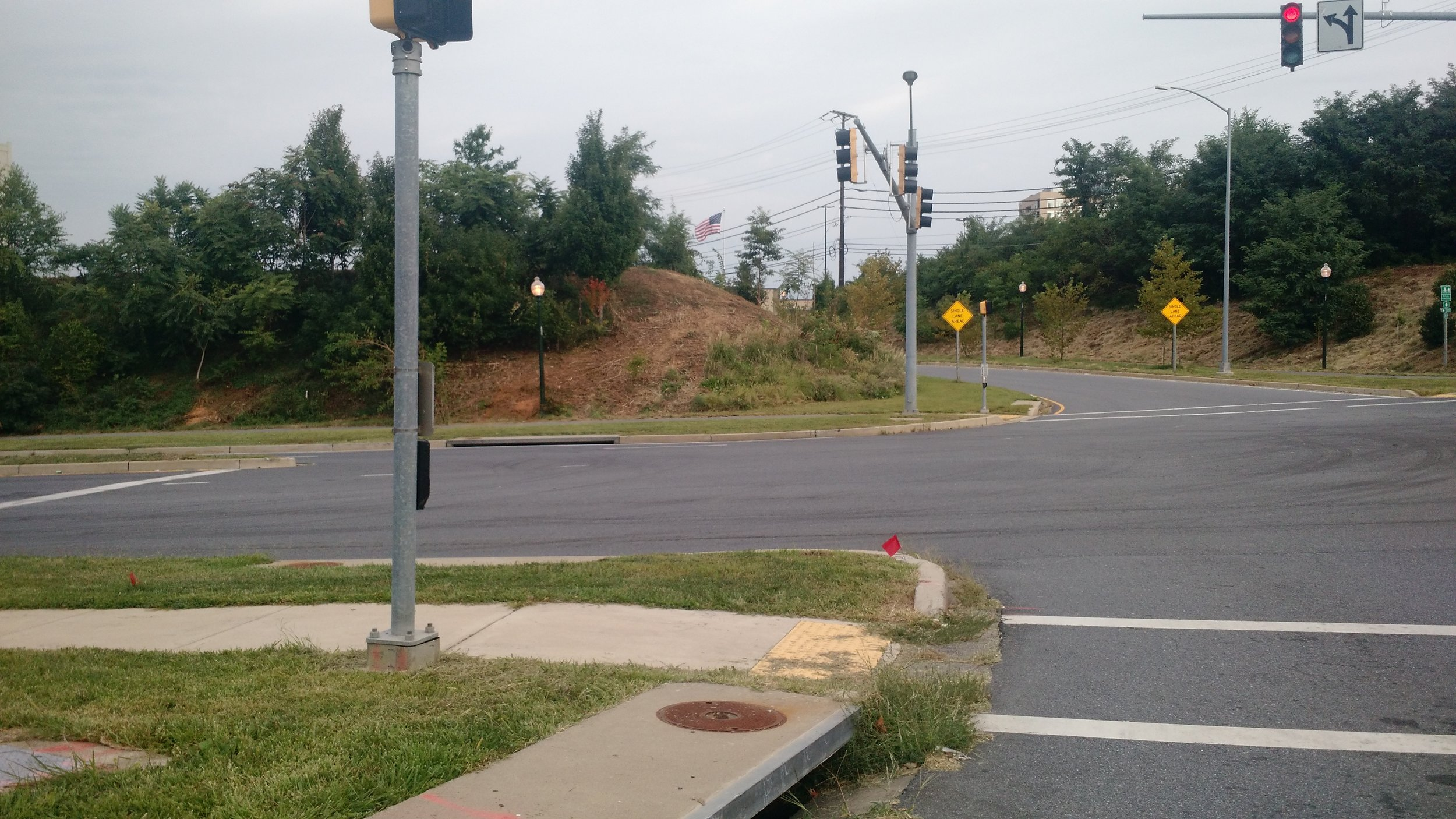 The 355 offramp at Montrose Parkway is missing a crosswalk. Let's put one in! Submitted by Jay C.