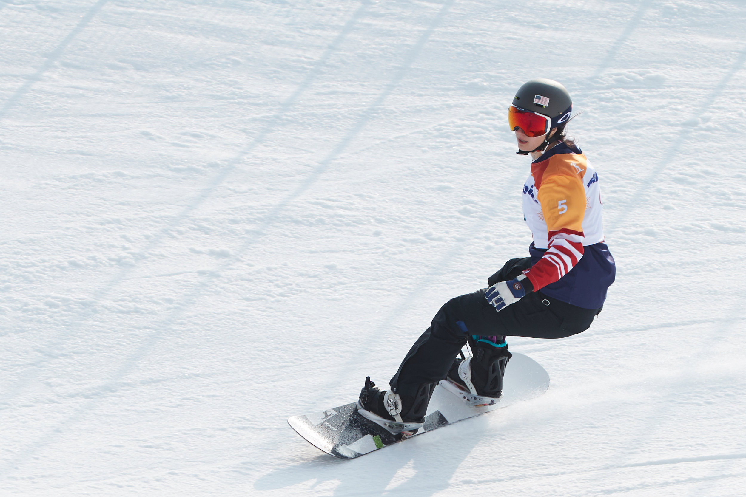 Brenna Huckaby on the slopes of PyeongChang. Image Courtesy Wheelchair Sports Federation
