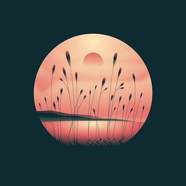 Feels like Friday . . . . . . #sunset #grass #cattails #gradient #illustration #illustrationartists #lake #dribbble #dribbblers #illustree #weloveillustration #flatillustration #vectorgraphics #gfxmob #supplyanddesign