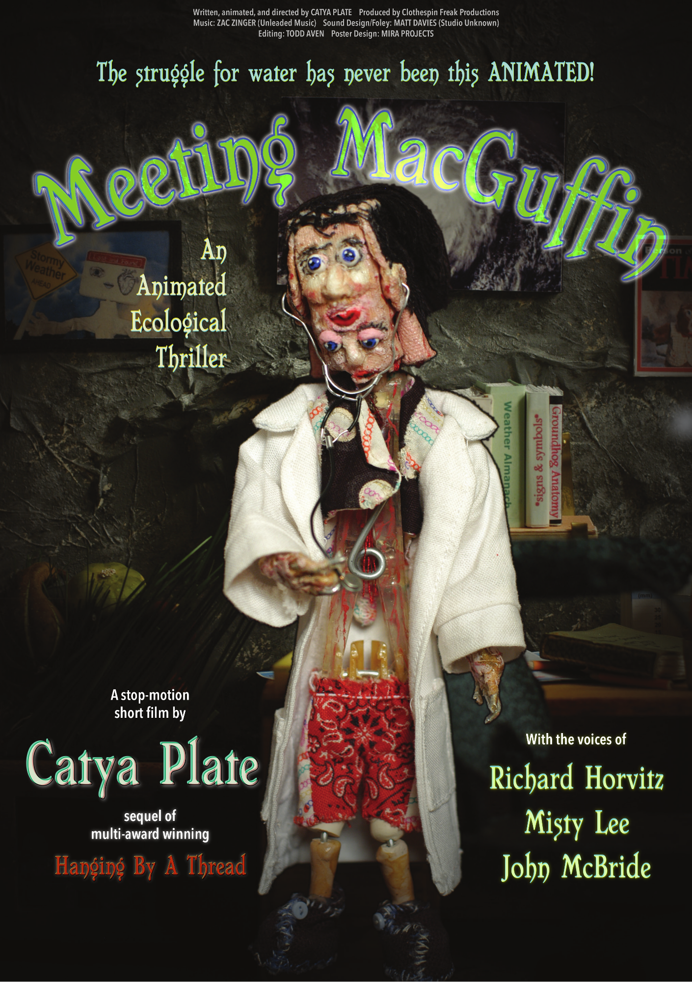"""Reviews and Featured Articles:  Meeting MacGuffin: An Artistic Commentary on Climate Change,  Palak Jayswal ,  Scorpius Magazine .  Meeting MacGuffin Short Film review,  screencritix .  'Meeting MacGuffin' Is The Best Stop-Motion, Ecological Thriller Out There!,  Indie Shorts Mag .  Meeting MacGuffin,  Reviews by Amos Lassen .  Meeting MacGuffin short film, Hannah Sayer,  UK Film Review .  Meeting MacGuffin,  IndyRed Reviews .  Meeting MacGuffin,  ReelRomp .  Meeting MacGuffin,  22 Indie Street .  Chasing MacGuffin (2017) LaFemme International Film Festival, Steve Kopian,  Unseen Films .   RIIFF VORTEX 2017 Filmmaker Spotlight Series: """"Meeting MacGuffin,"""" Directed By Catya Plate ."""