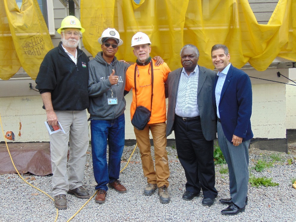Pictured here: Tim Tudor (YouthBuild Boston), Darrell Boyd (City of Boston), Vinny Fanuele (Madison Park Technical Vocational High School), Ken Smith (YouthBuild Boston), and John Valverde (YouthBuild USA).
