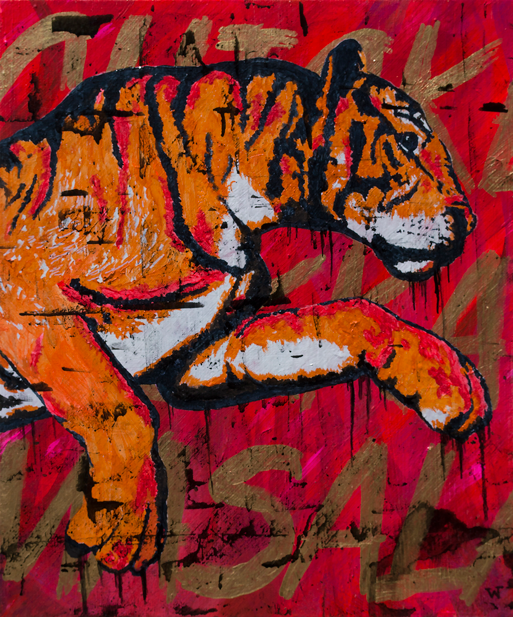Shere Khan's Spicy Chicken (2015)  20 x 24 inches  acrylic on canvas