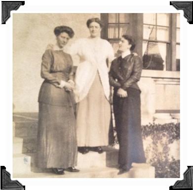Three Cousins, Sarah Stone McEckron Darrell, Daisy Spedden & Marie Seitz Rodenbough photographed December 3rd, 1913 at Tuxedo Park, NY