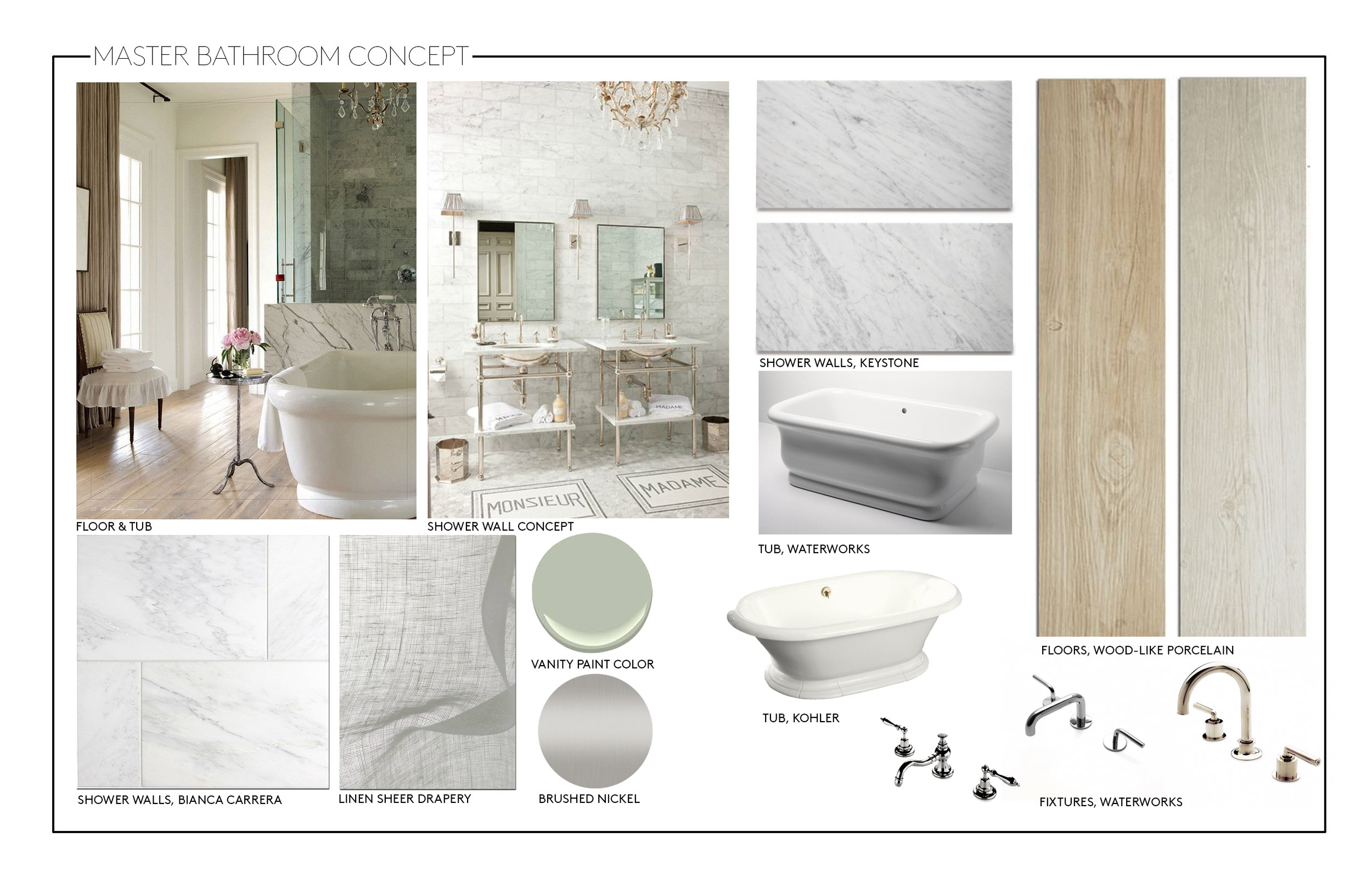 This master bathroom concept board captured a french-inspired look, with wood-look tile flooring, light colored marble tile and traditional free standing tub.