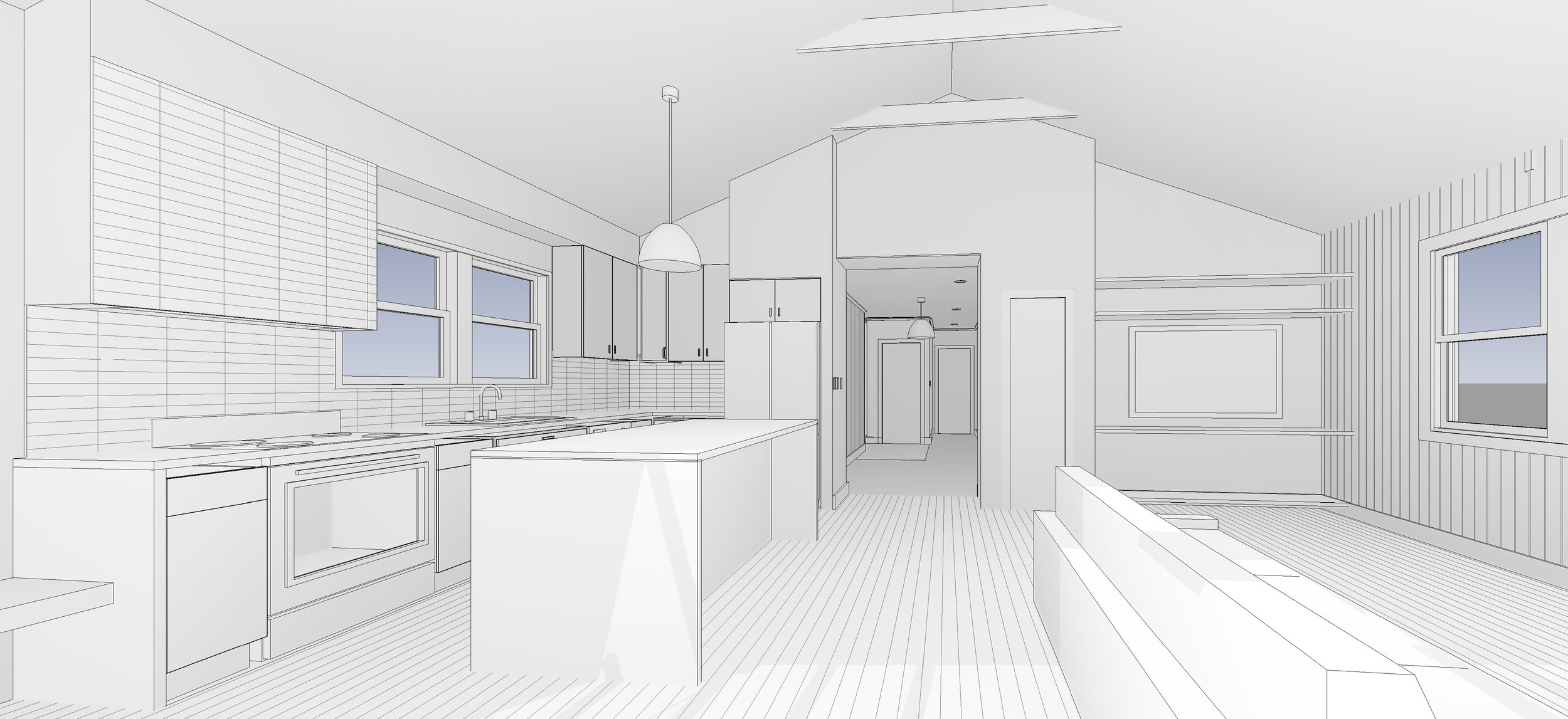 conceptual rendering of kitchen and living area