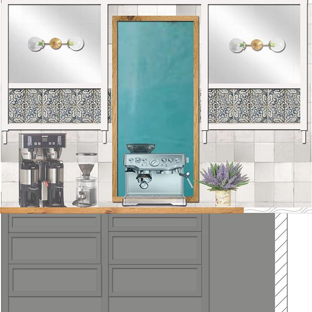 Working on this pretty back bar design inspired by @walkerzanger terra cotta tile. Lighting by @sazeracstitches