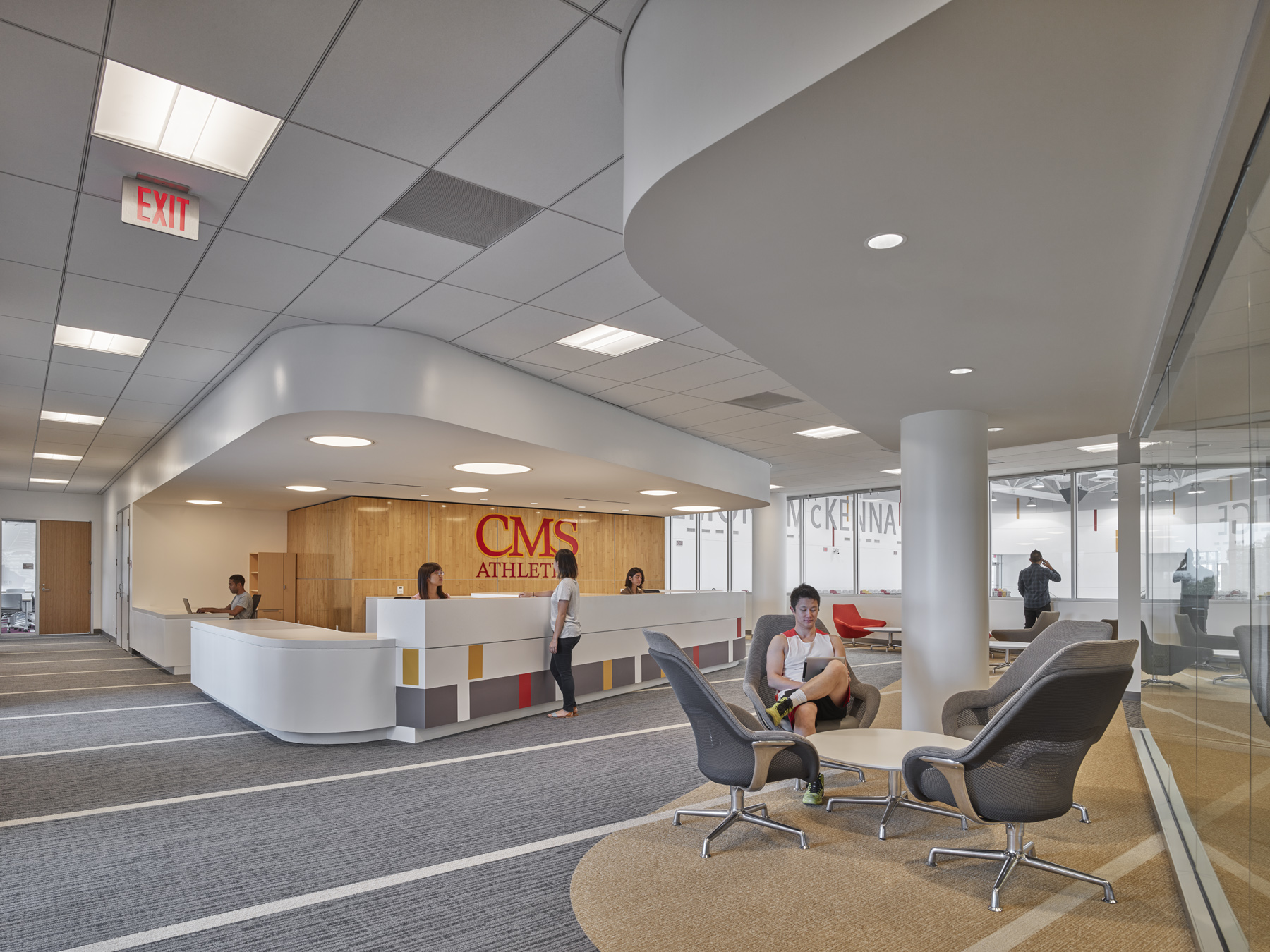 Administration: reception desk and lounge