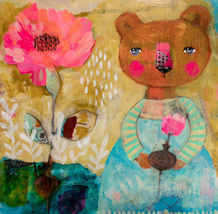 Bear Girl, 2019 - *Mixed mediaAcrylics, collage on 140 lbs. paper8,14 x 8,26 inch. (approx)*Técnica mixta Acrílico, collage sobre papel 300 g/m2207 x 210 mm. (aprox)