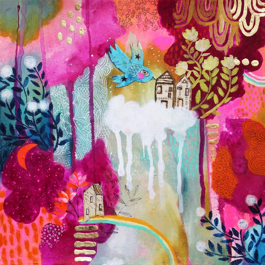 Dreamland, 2019 - *Mixed mediaAcrylics, collage, wax crayons, gold foil on repurposed paper11,6 x 11,6 inch. (approx)*Técnica mixta Acrílico, collage, crayola de cera, foil dorado sobre papel reutilizado295 x 295 mm. (aprox)