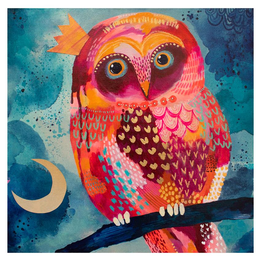 Day Owl, 2019 - *Mixed mediaAcrylics, collage, gold foil on hand-stretched canvas over MDF (0,1 inch)15,7 x 15,7 inch. (approx)*Técnica mixta Acrílico, collage, foil dorado sobre lona estirada a mano sobre MDF (5mm)400 x 400 mm. (aprox)