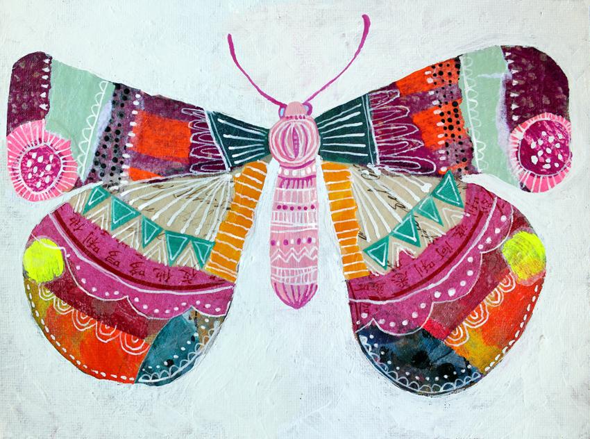 Butterfly 2, 2019 - *Mixed mediaCollage, acrylic on canvas board8 x 6 inch. (approx)*Técnica mixta Collage, acrílico sobre tablero de lona203 x 152 mm. (aprox)