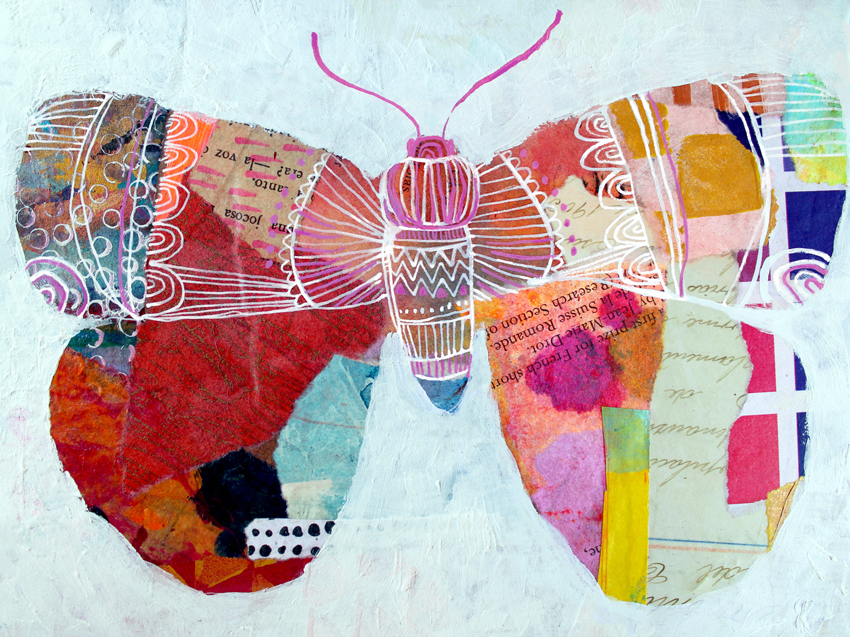 Butterfly 3, 2019 - *Mixed mediaCollage, acrylic on repurposed MDF frame7,8 x 5,9 inch. (approx)*Técnica mixta Collage, acrílico sobre marco de MDF reutilizado200 x 150 mm. (aprox)