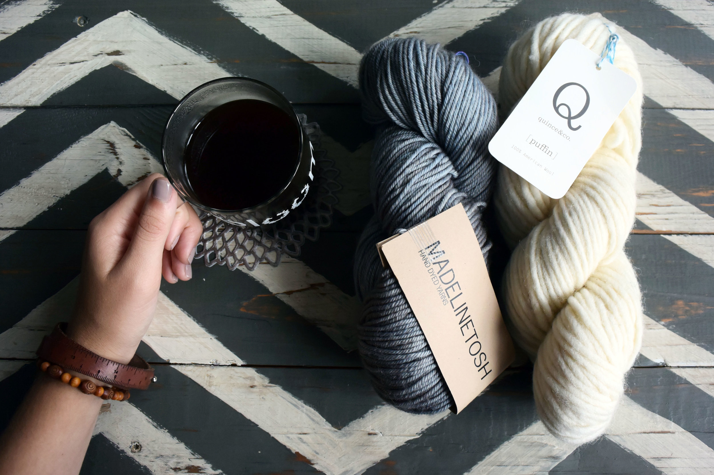 This skein of Madelinetosh DK Twist (100% wool) in Fallen Cloud was on my to-do list last week, & it has since been knit up into another piece of the Fall 2017 collection: a perfectly slouchy beanie. The skein of Quince & Co.  Puffin  in undyed Egret to the right was also knit up into a new piece, but more on that later. And, of course, the bloom coffee mug (my favorite!) is available for purchase  here  & also on  Etsy .