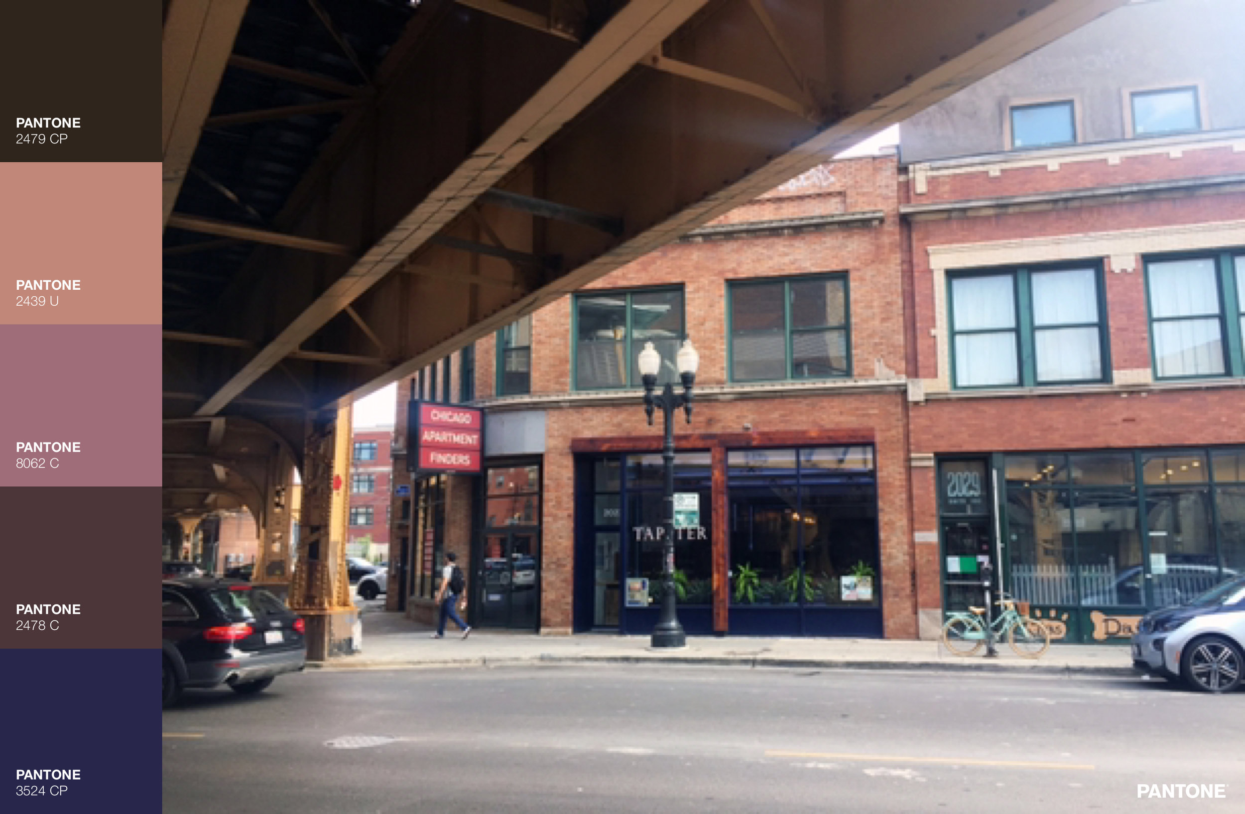 I snapped this photo underneath the Blue line, not far from the Damen stop. I love the rich warmth supplemented by the cool colored window frames. Also that bike across the street on the right is adorable & it posed so well for the photo.
