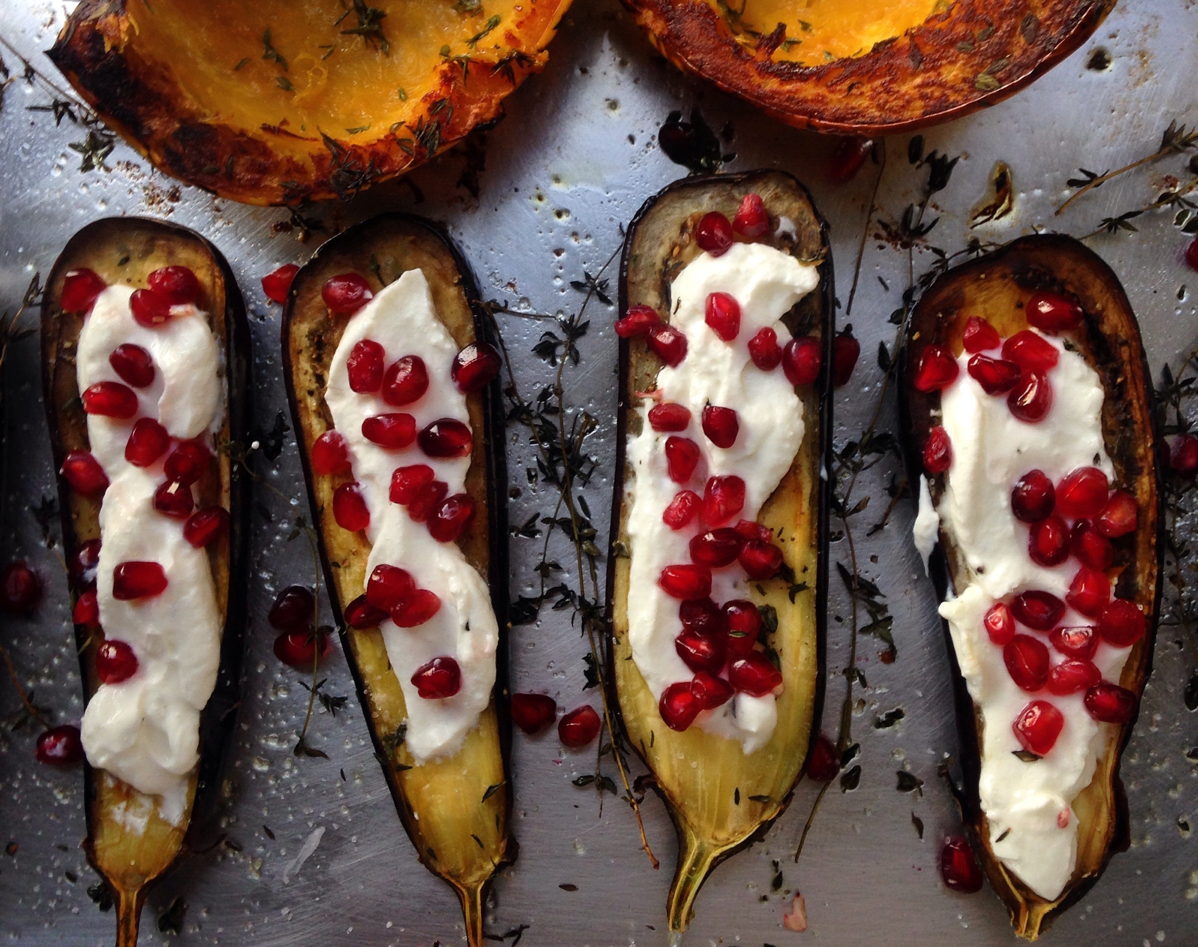roasted eggplant: yogurt + pomegranates / herbed kabocha squash