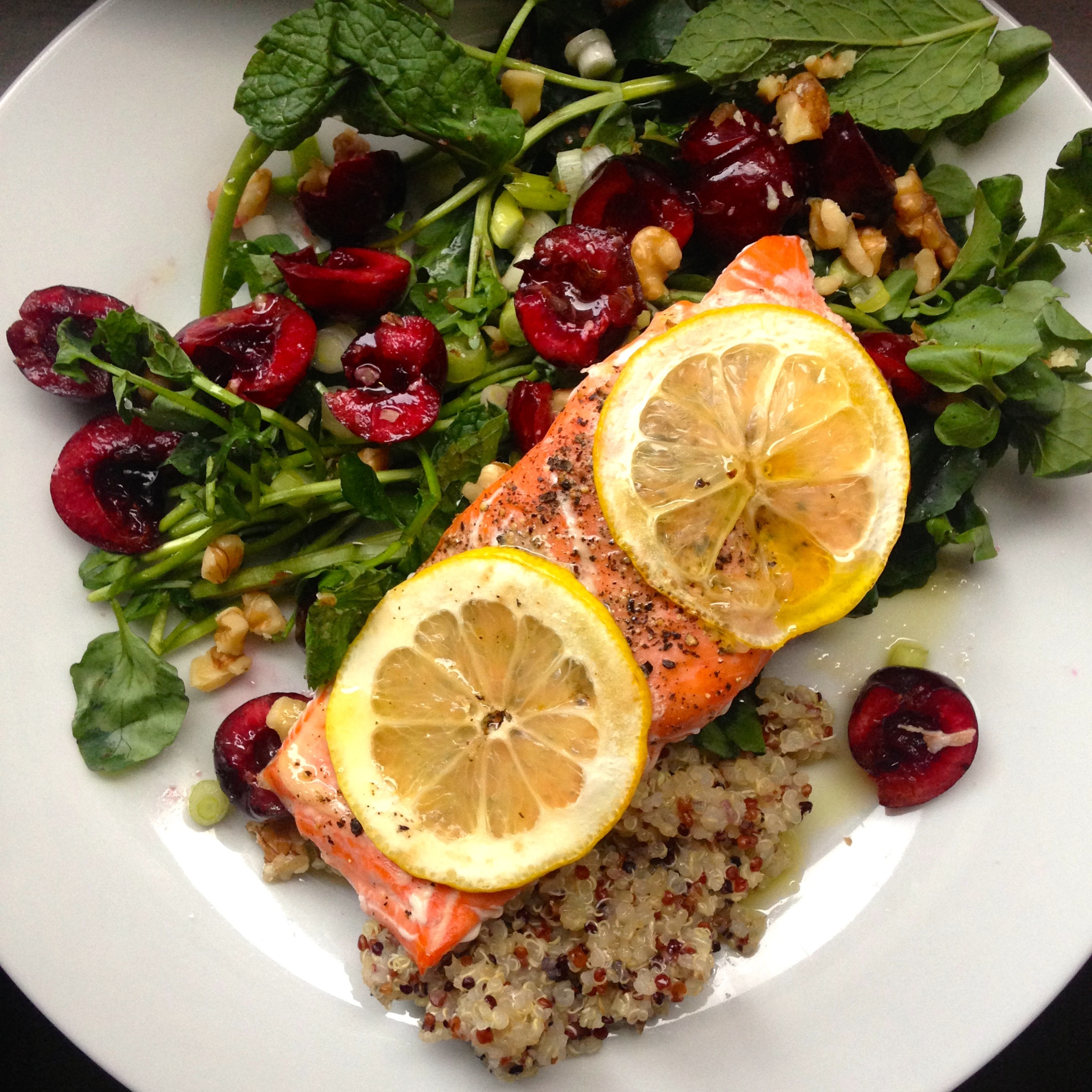 baked salmon with watercress + cherry salad