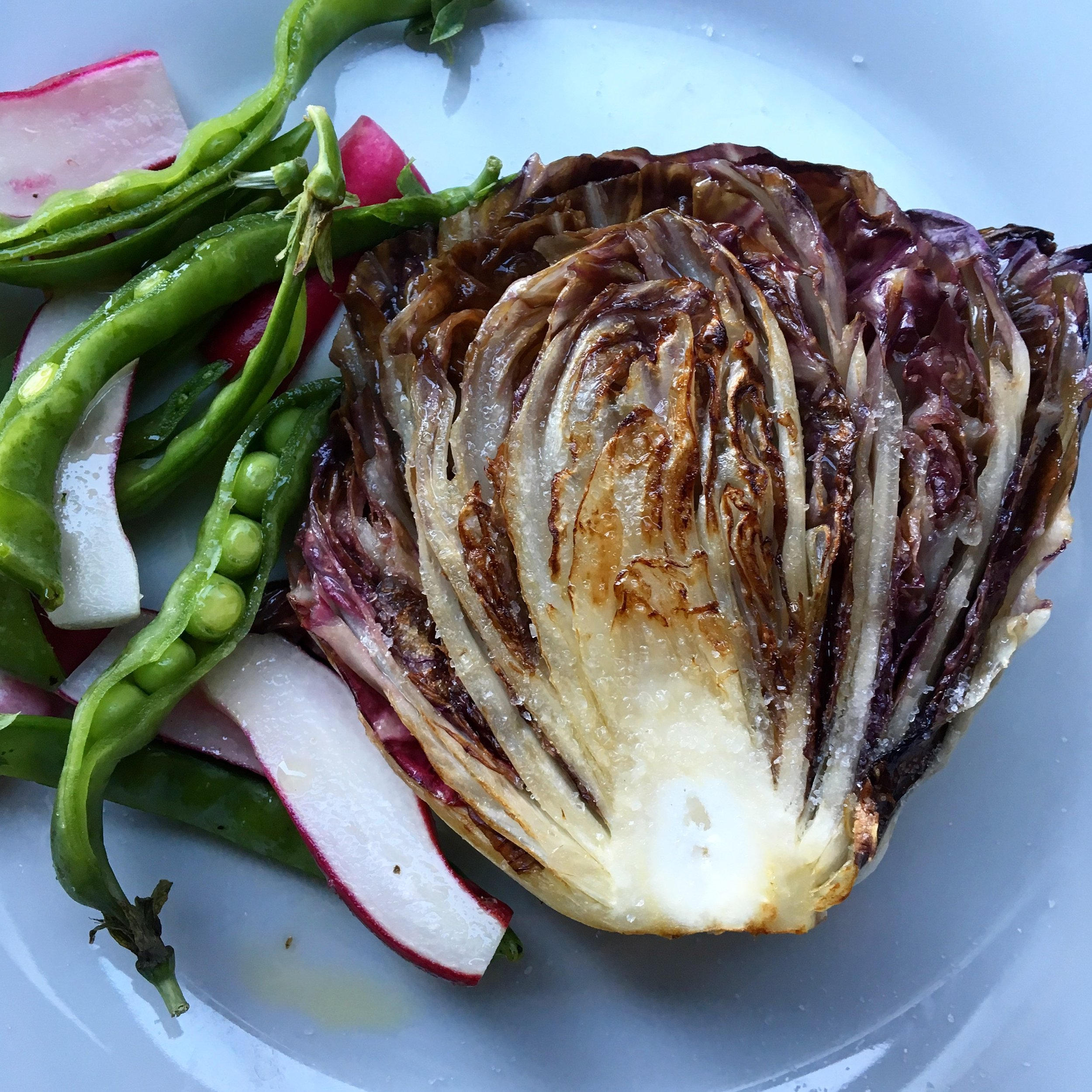 grilled radicchio with side of snap pea + breakfast radishes