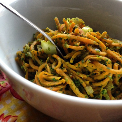 sweet potato zoodles with spinach pesto