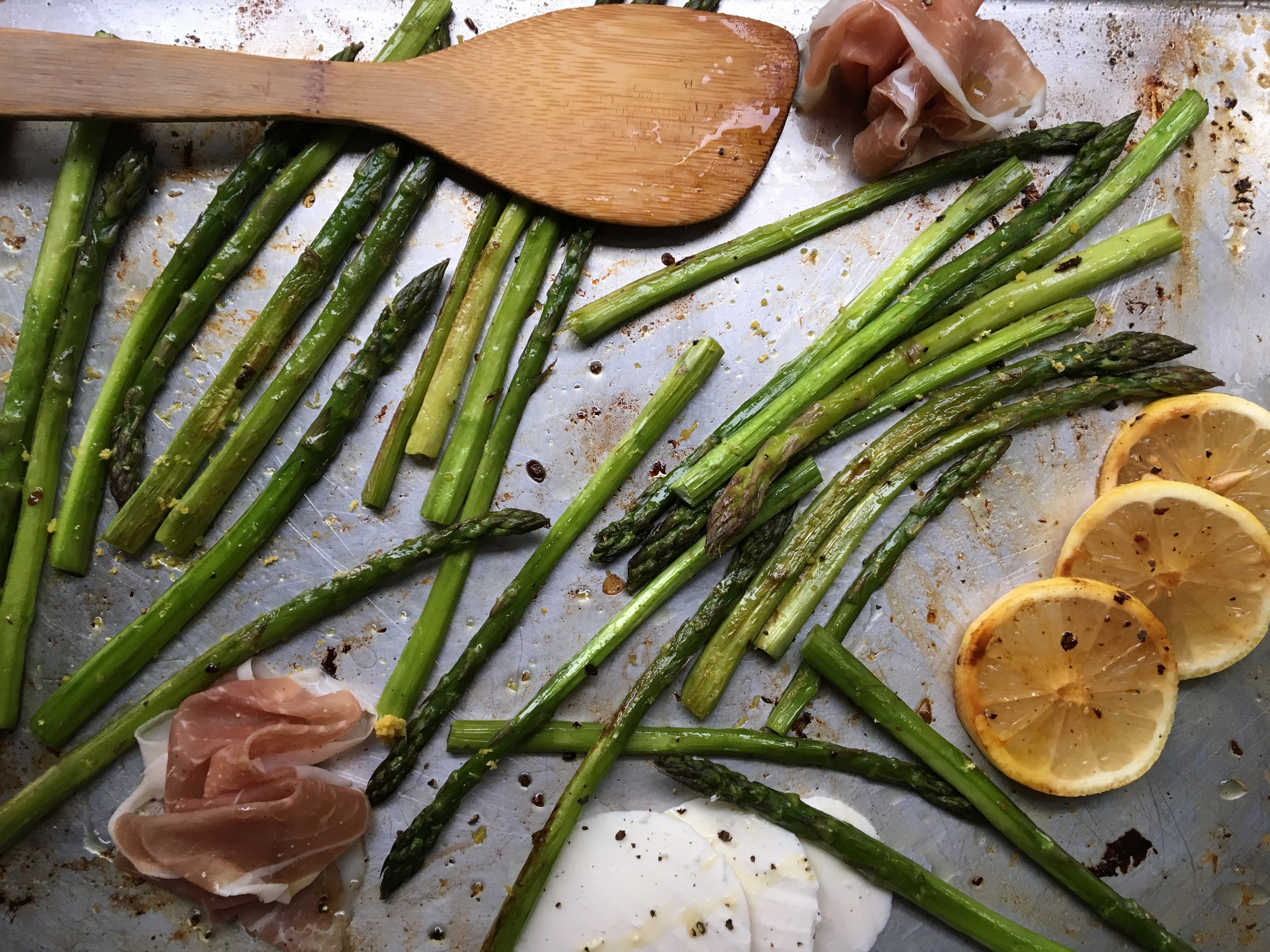roasted asparagus +  lemon / mozzarella + prosciutto purses