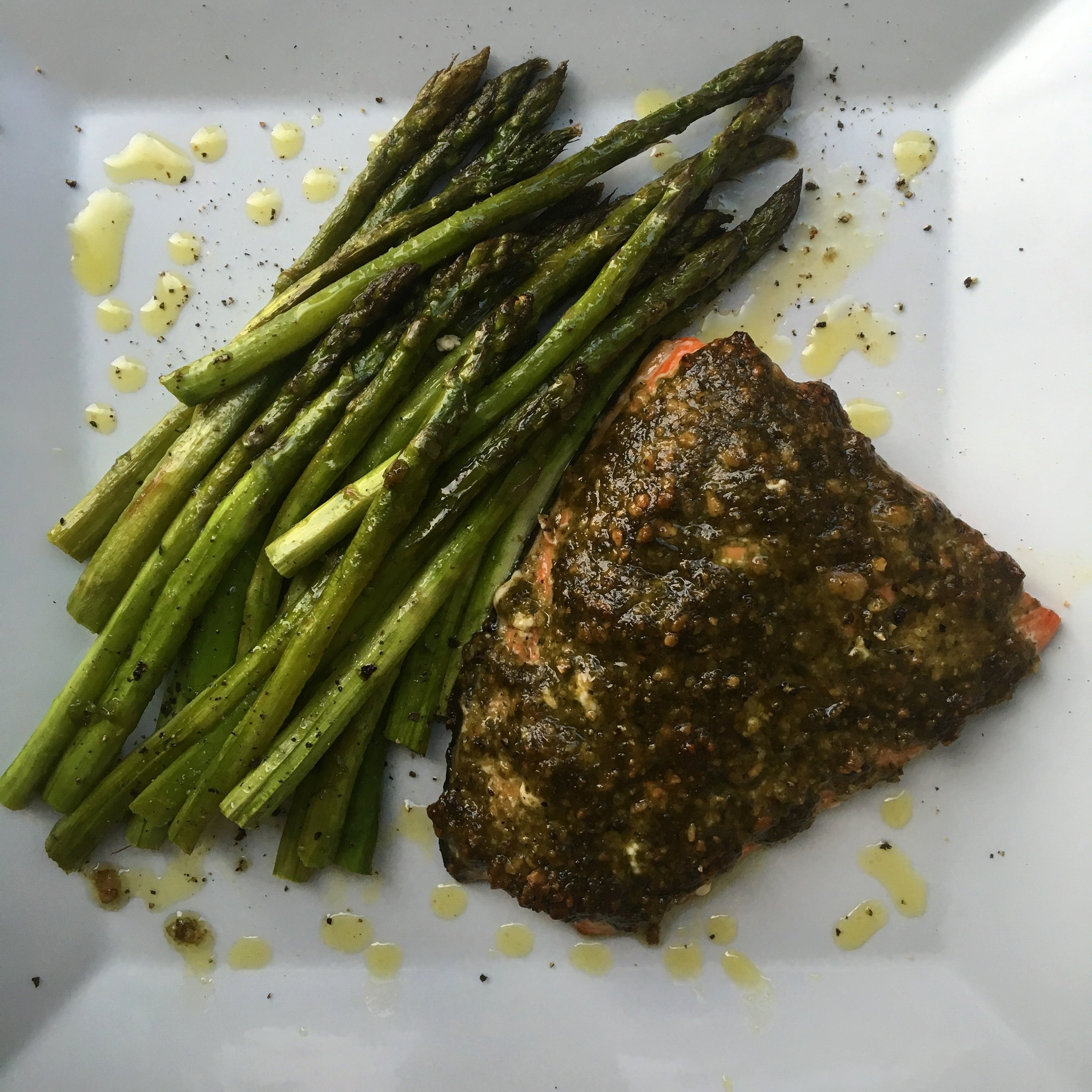 pesto baked salmon + roasted asparagus