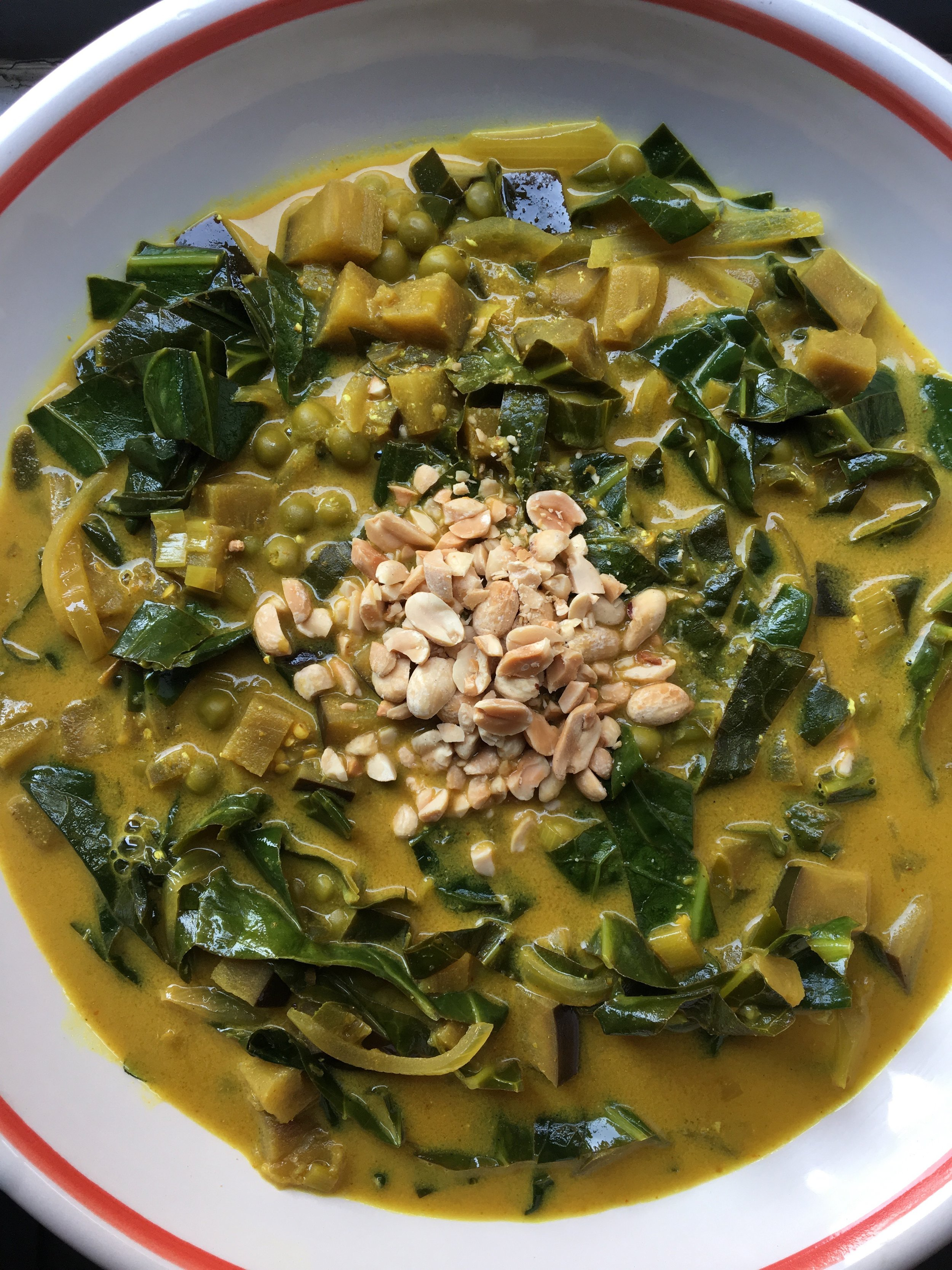 Eggplant / Collard + Coconut Curry