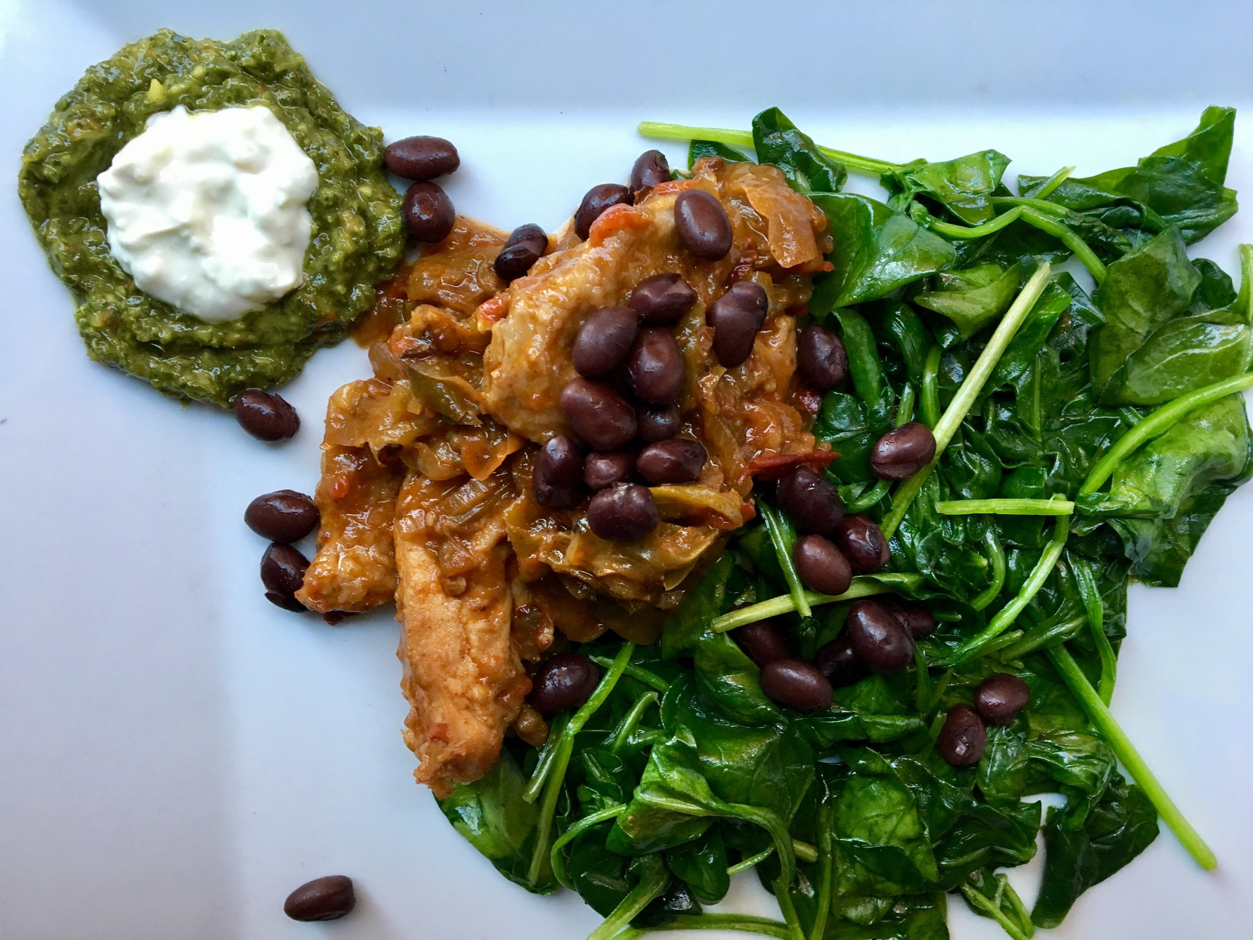chipotle chicken, greens, beans + dipping sauces