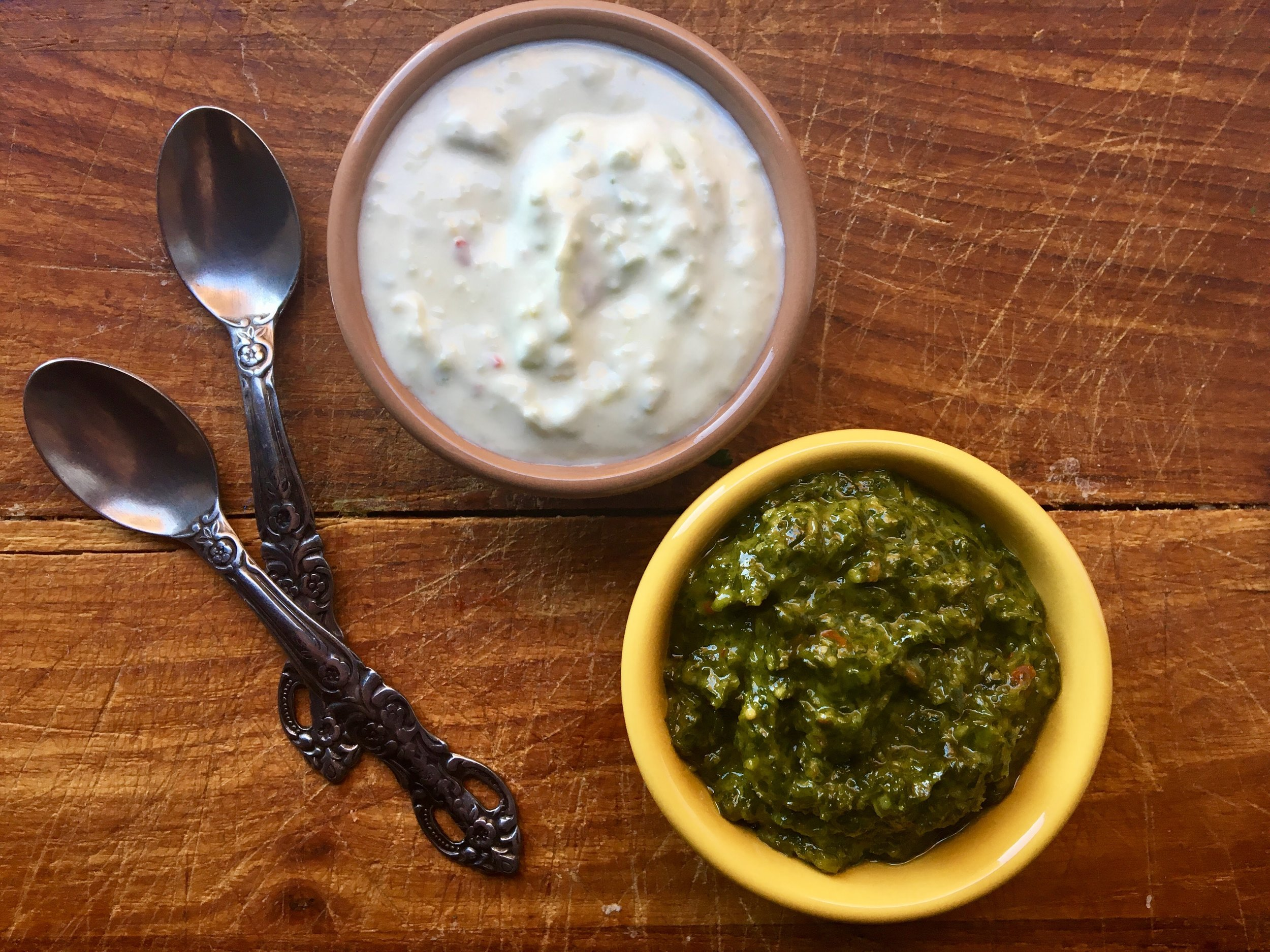 green sauce + jalapeno yogurt