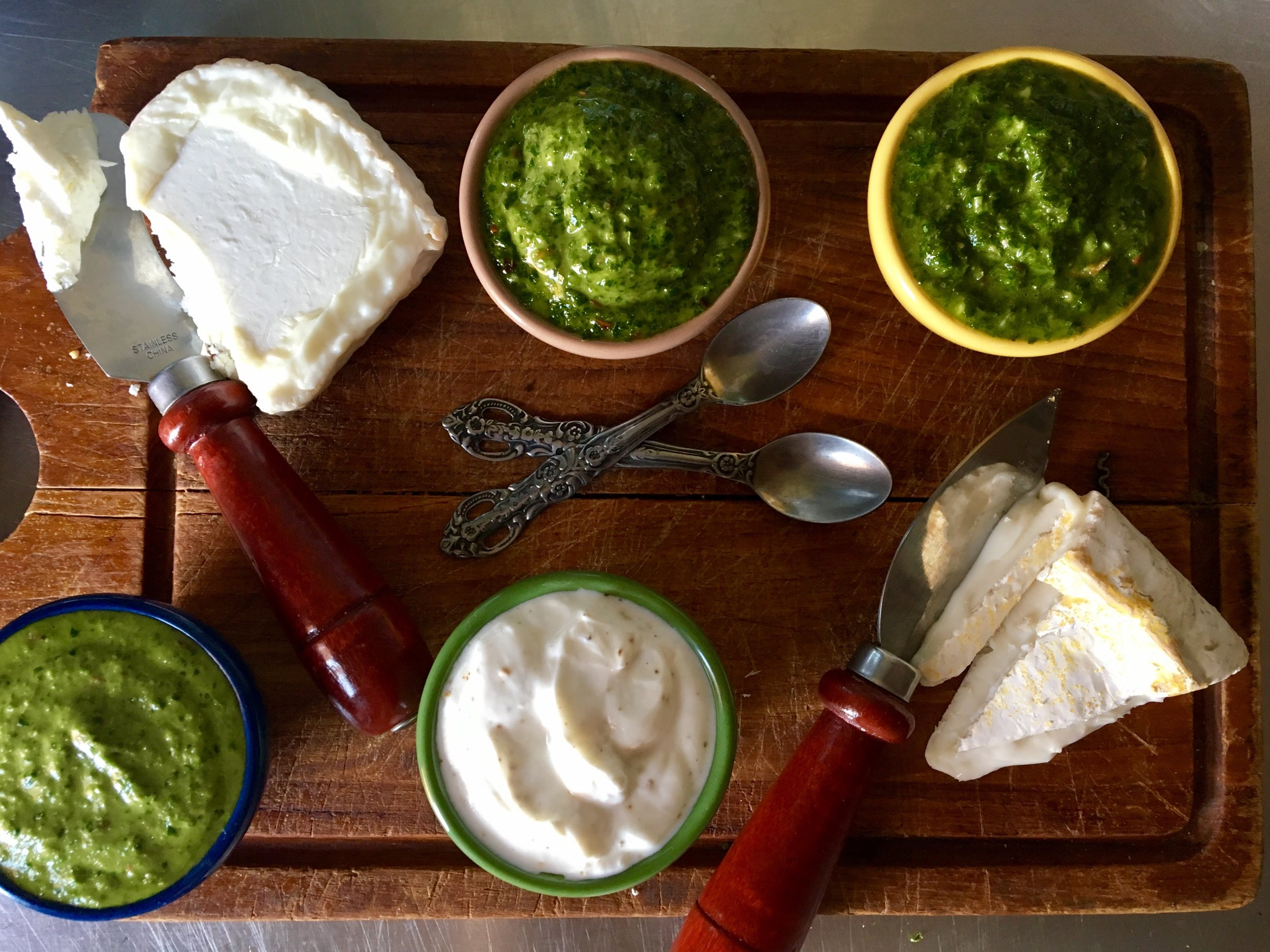 parsley, cilantro, scallion + spinach sauces  with truffle oil yogurt