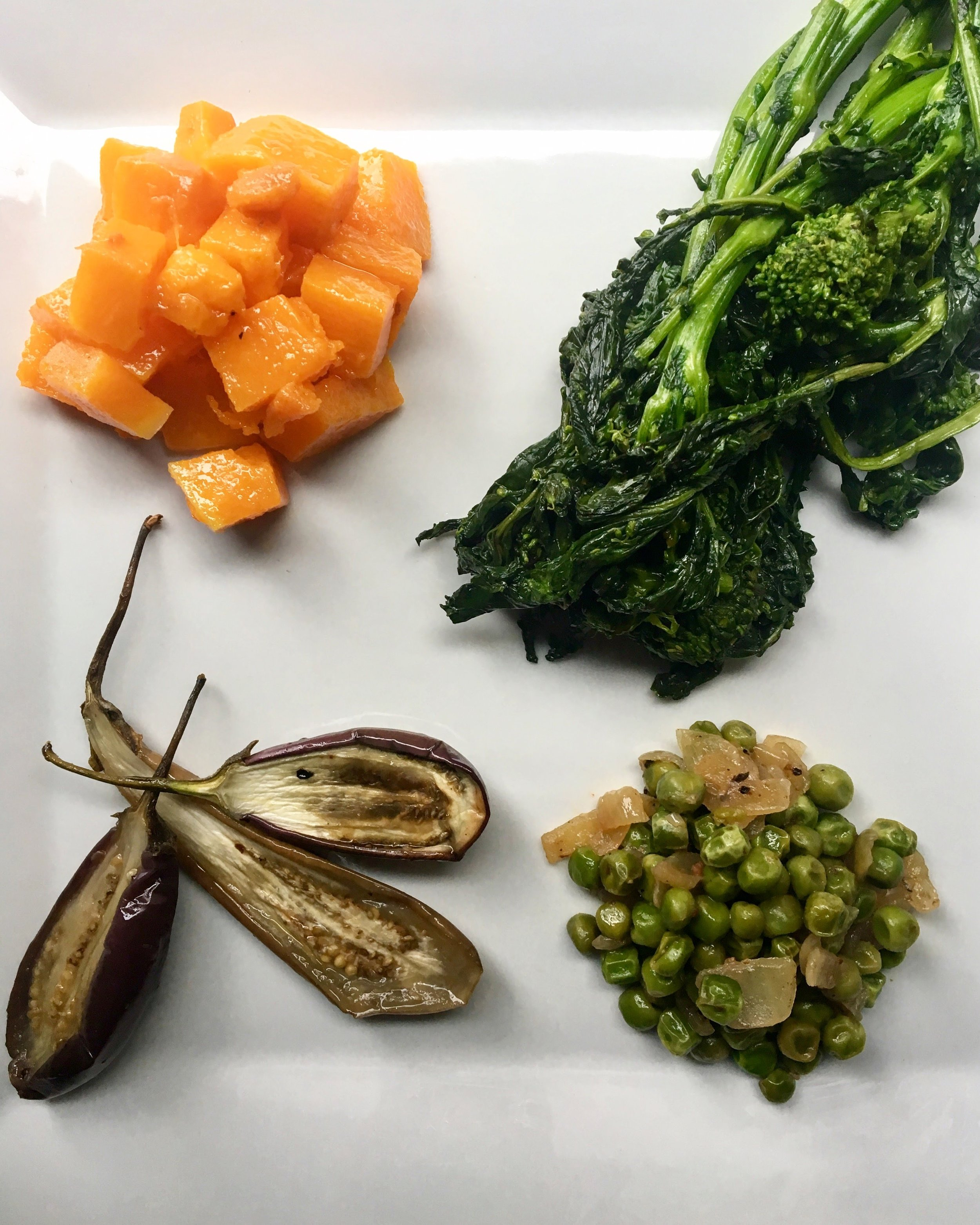 Vegetable Building Blocks: Pharsi Squash / Broccolirabe / Roasted Eggplant / Peas + Onions