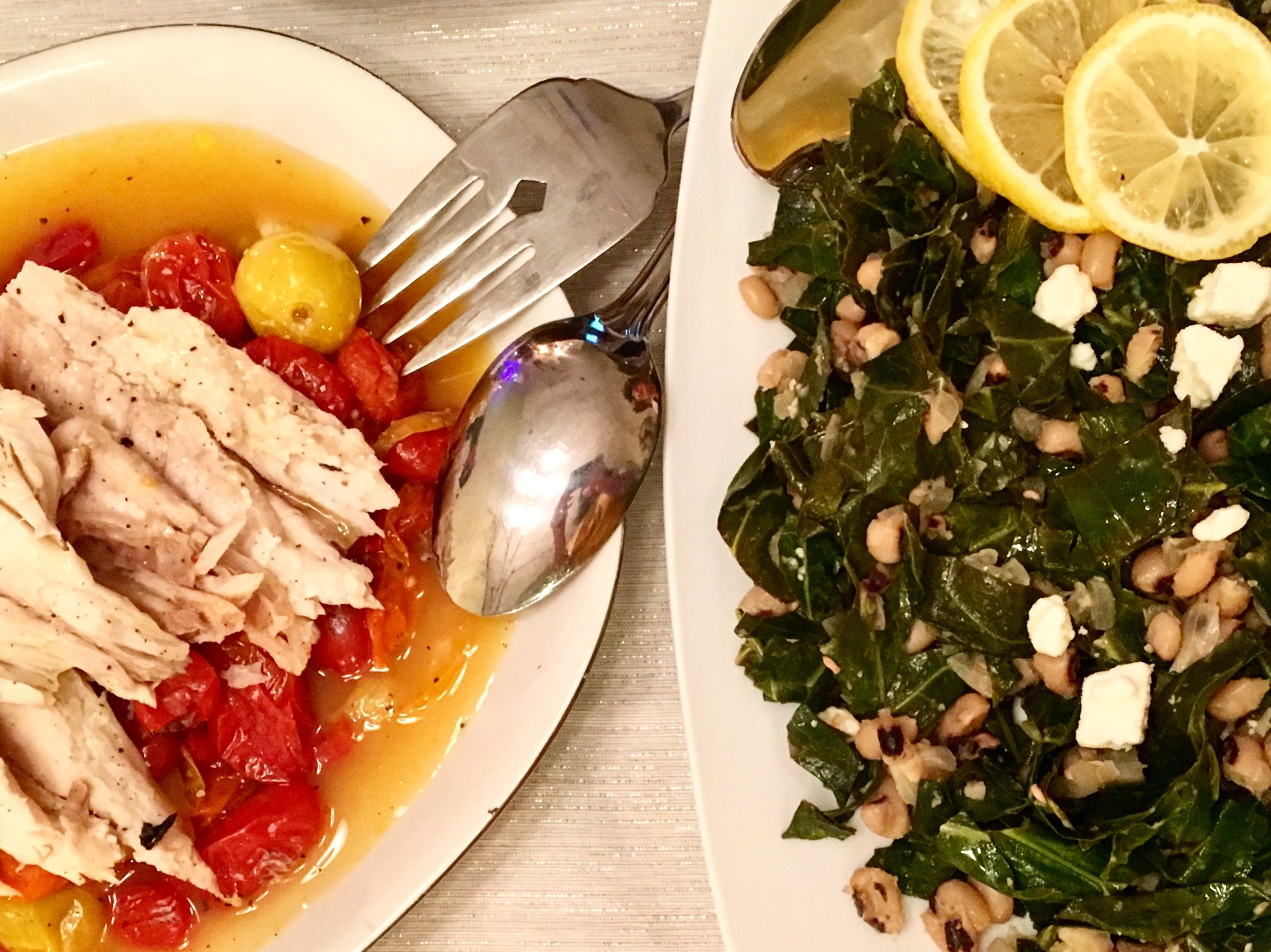 Fish De-boned + Collards In Wine/Butter/Lemon Sauce w/ Feta