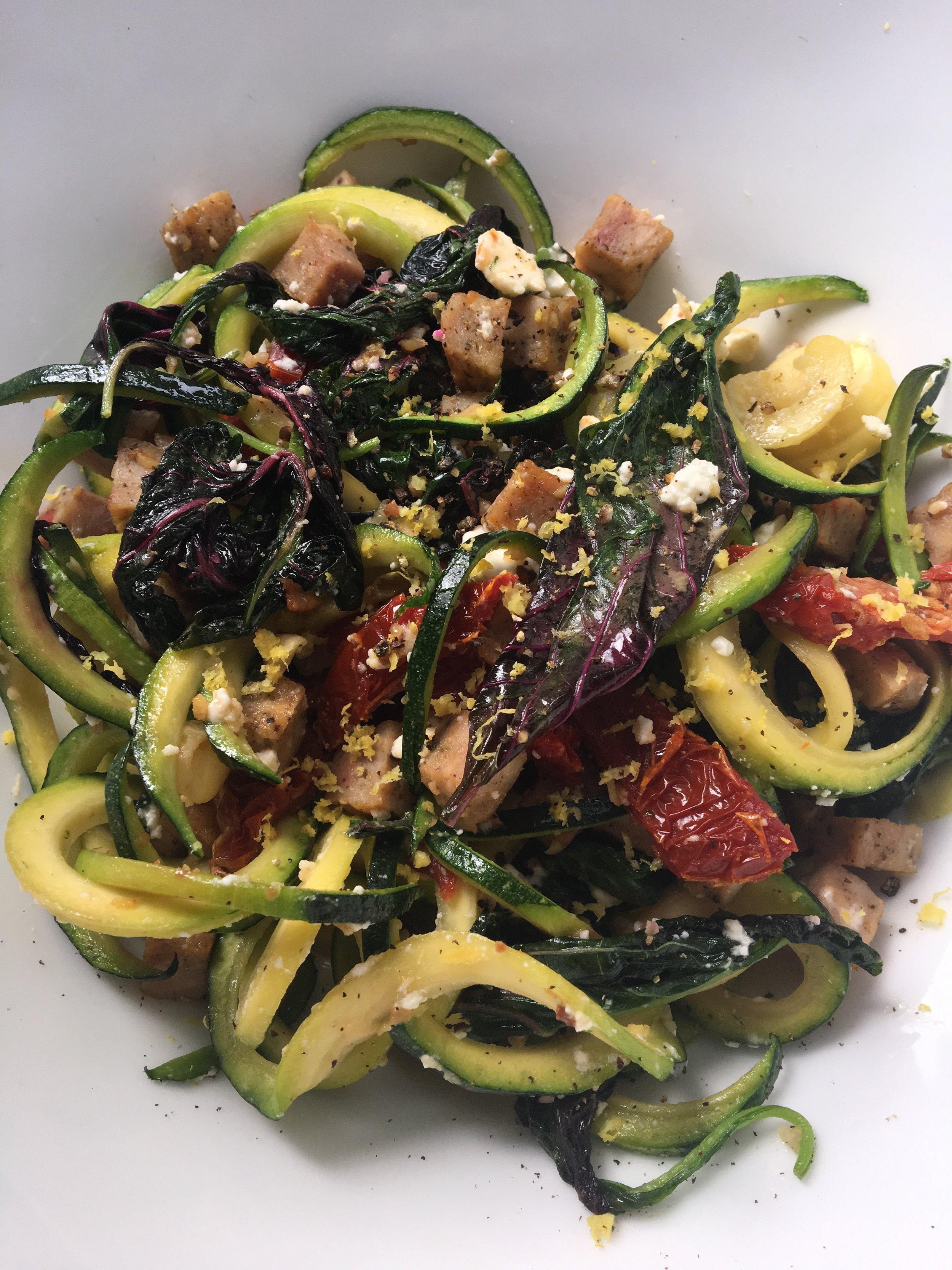 Zucchini Noodle / Chicken Sausage / Bulgarian Feta / Purple Callaloo / Sun dried Tomato / Lemon Zest