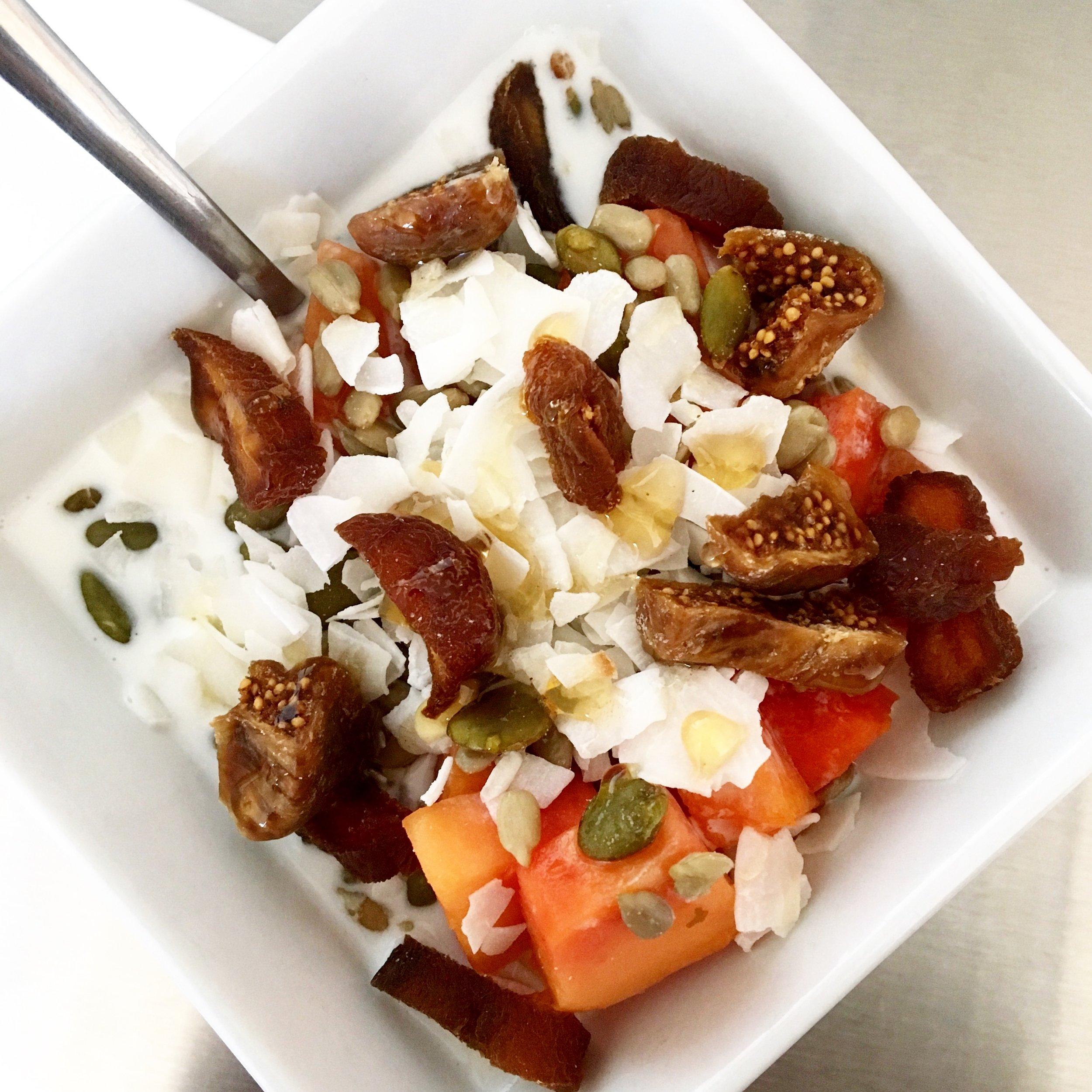 Kefir Bowl / Dried Figs + Dates, Seeds, Papaya, Coconut + Raw Honey
