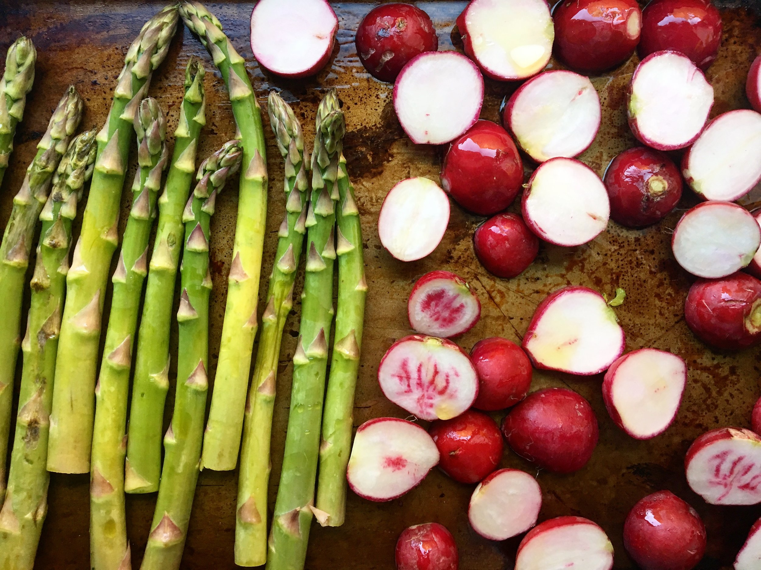 Asparagus + Radishes / before the roast