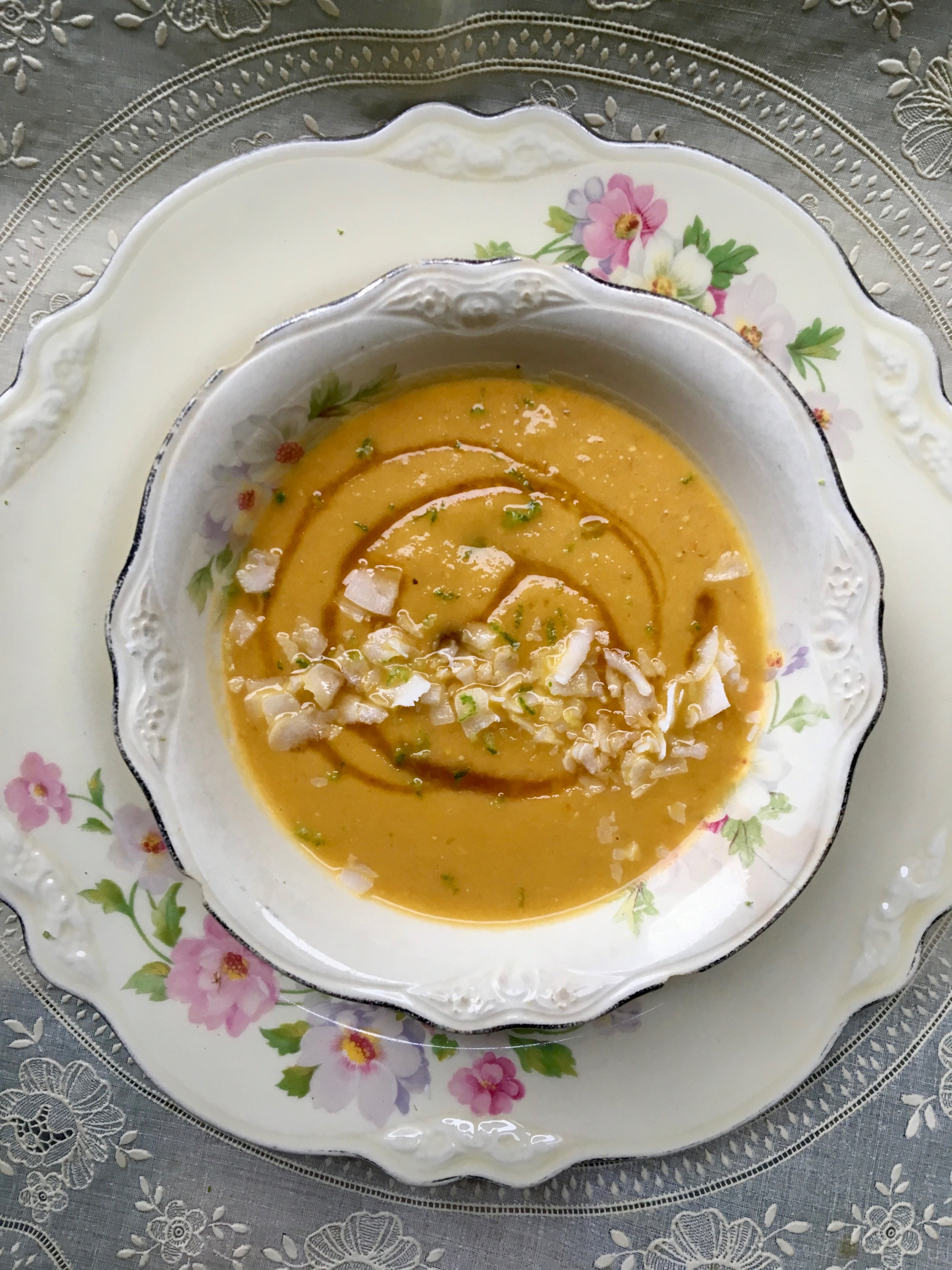 Coconut Sweet Potato + Carrot Soup