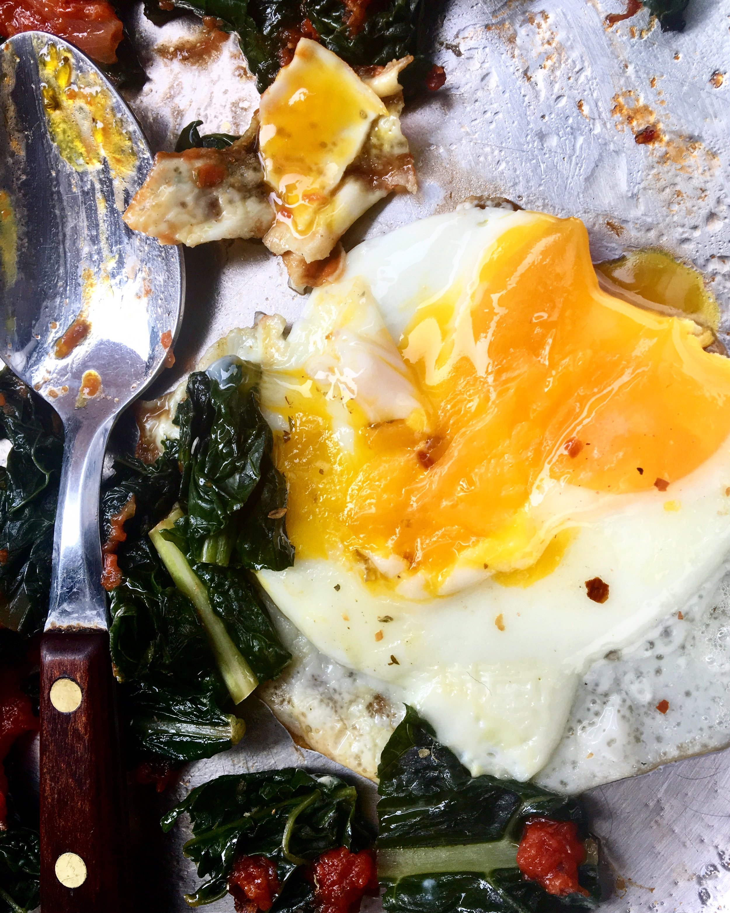 The First Bite: Kale / Sauce / Eggs: $1.68 for breakfast at home