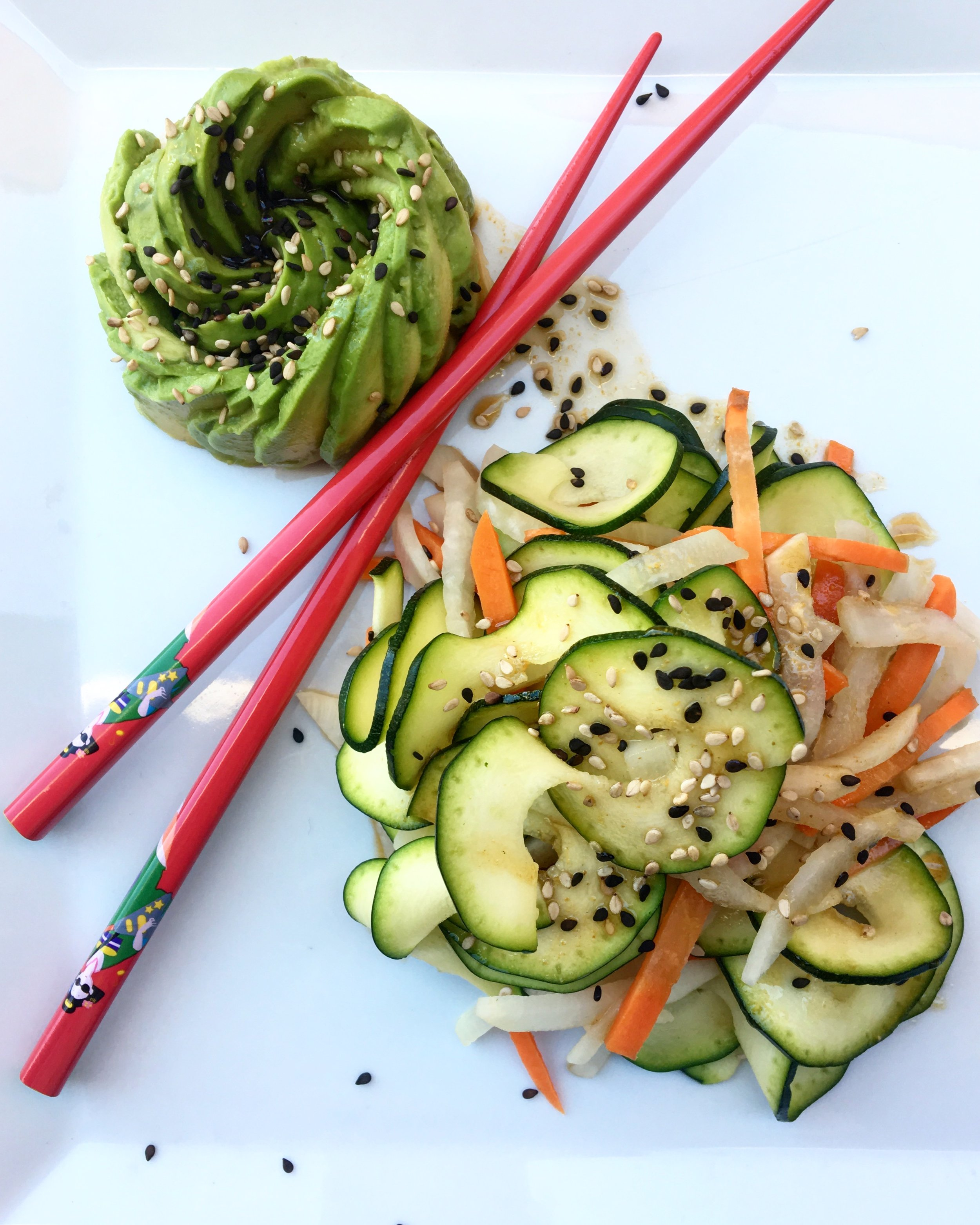 Freestyle Salad: Zucchini / Carrots / Daikon + Sesame Ginger Dressing