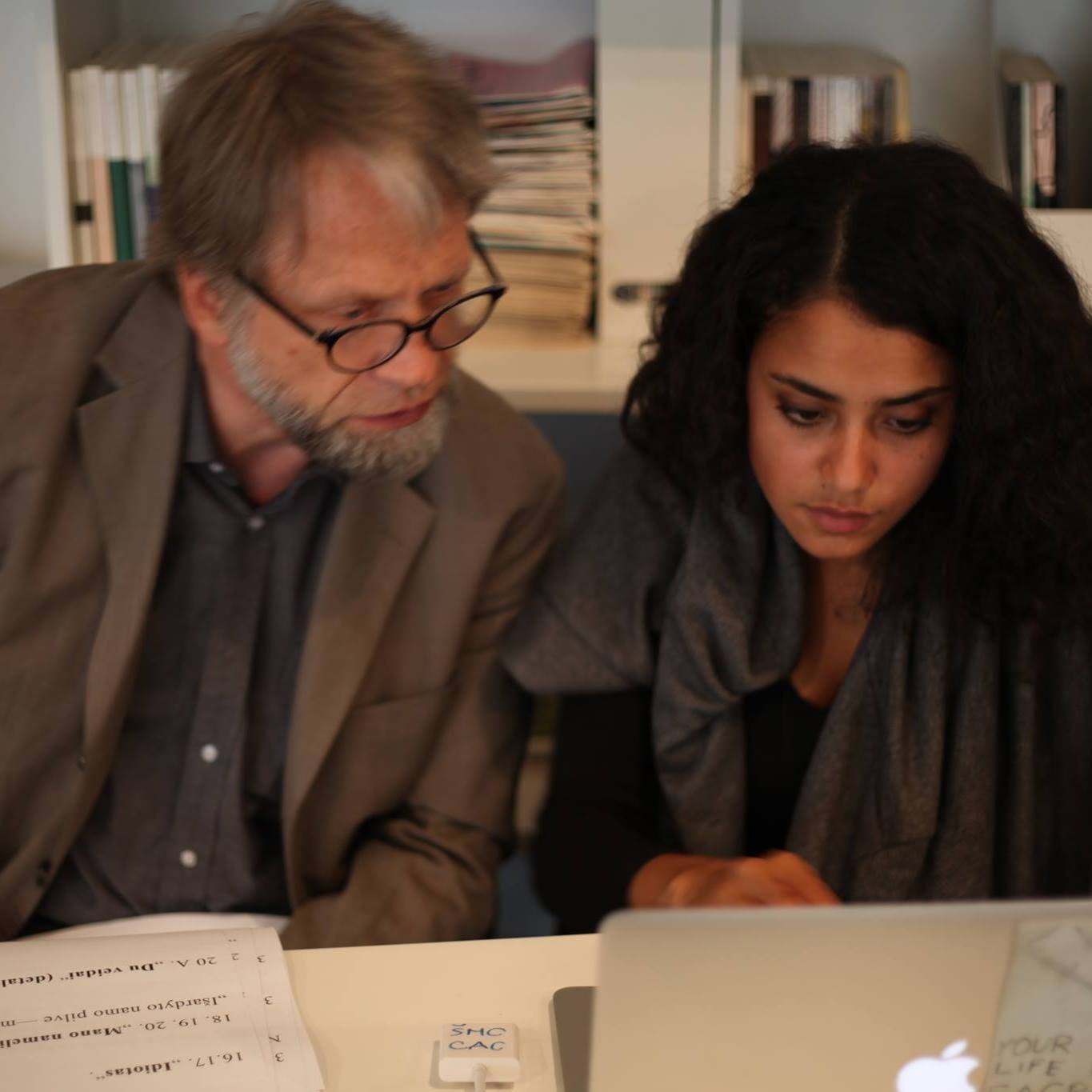 """Antanas Mockus and I working on Nijole's presentation """"Works and Reflexions"""" at the  Contemporary Art Center  of Vilnius."""