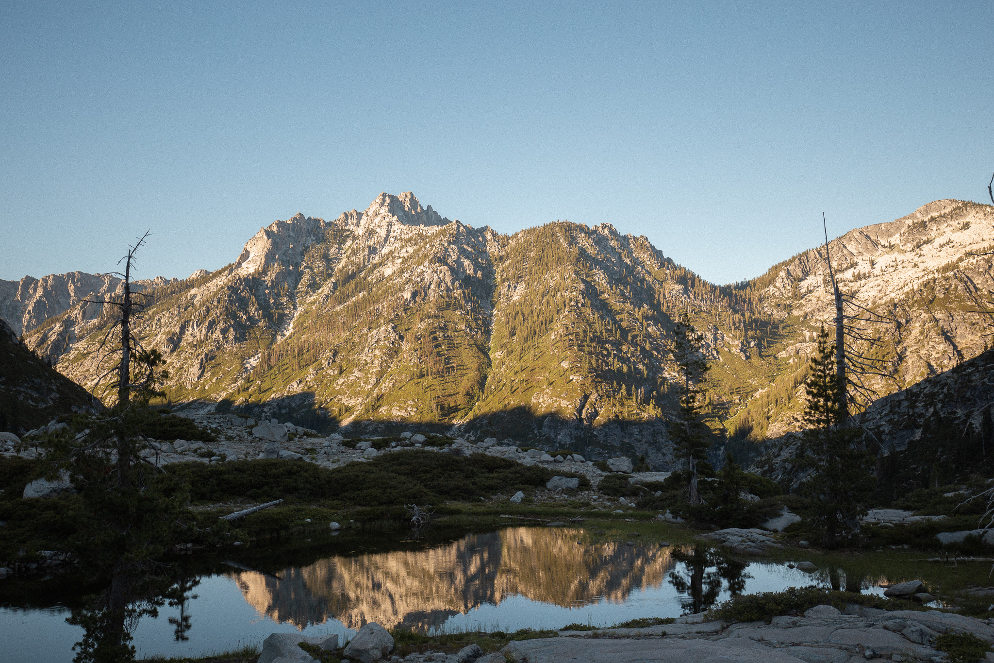 Sawtooth's reflecting in the Boulder Lake Basin.