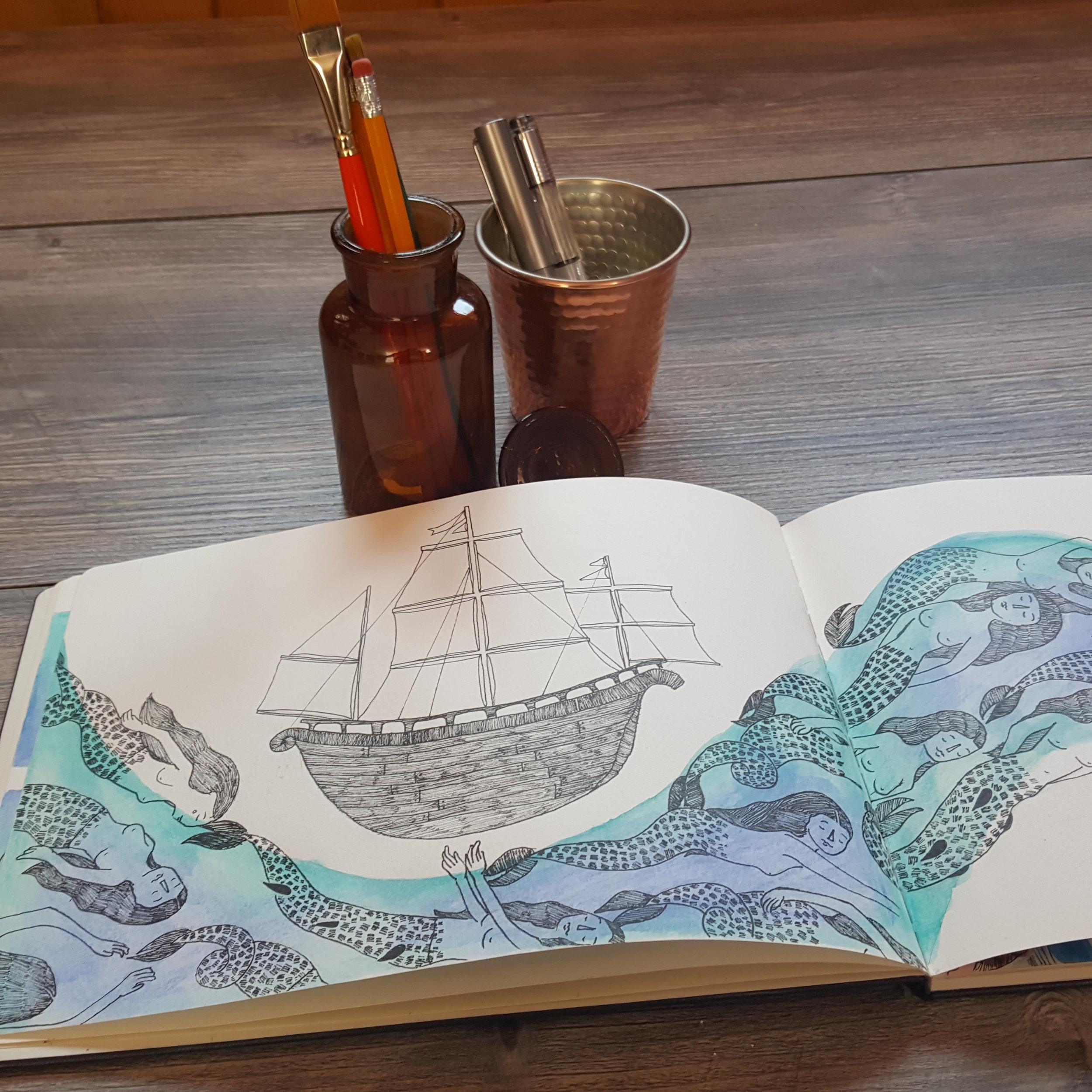 Watercolor and pen technique