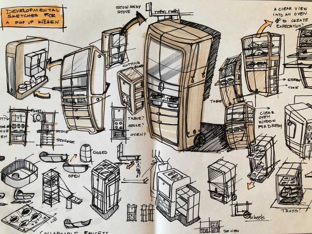 Developmental sketch: Pop up kicthen