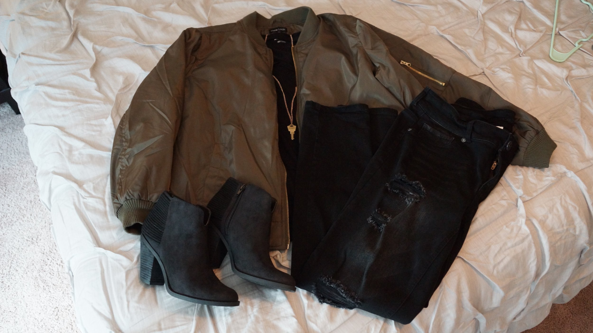Black tee (Target), bomber jacket (Ross), jeggings (Maurices), black booties (Ross), and my favorite accessory, The Giving Keys necklace (a gift from my sister)