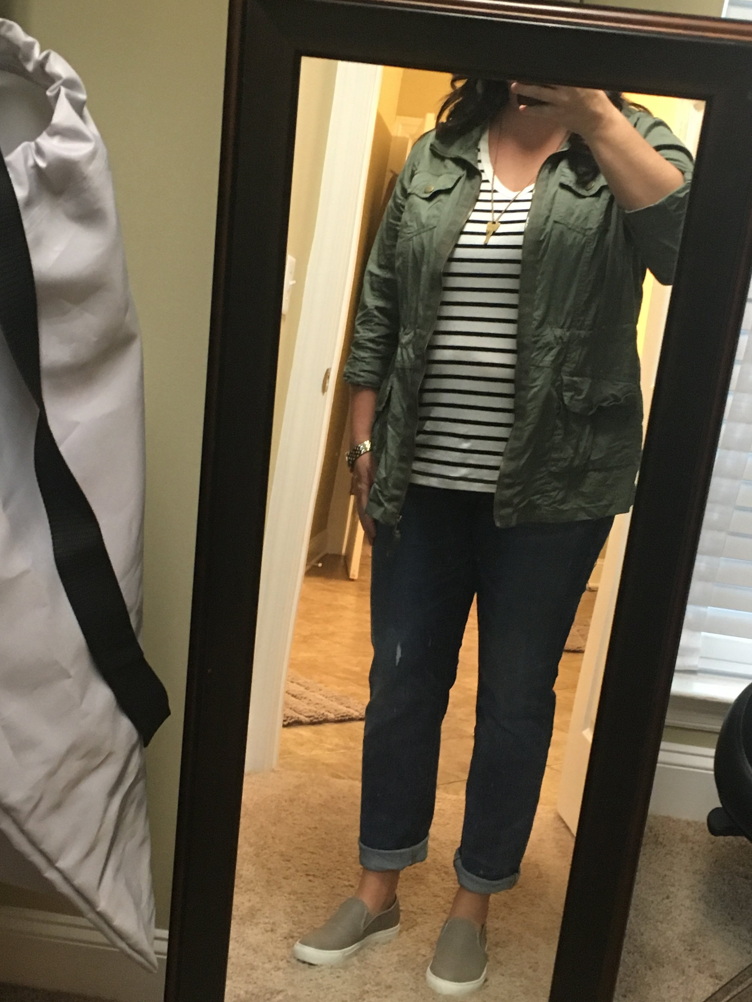I'm terrible at these mirror shots, but I liked this outfit.  Striped tee (Target), utility jacket (Ross), jeans (Madewell), sneakers (Steve Madden), Giving Key necklace
