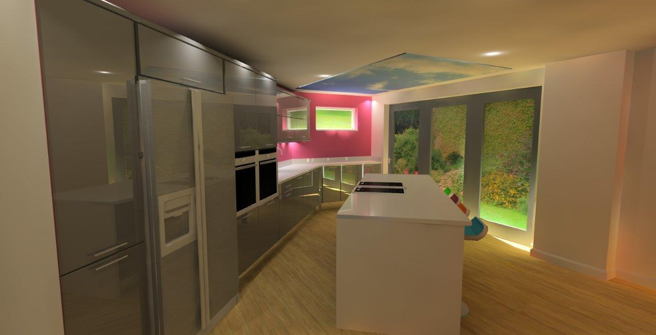 3D Angled Kitchen