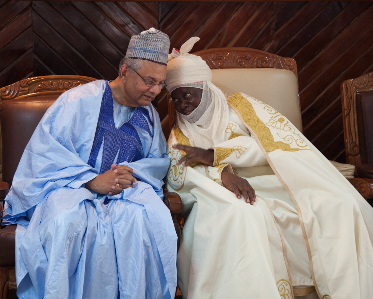OMNIA President confers with Chief of a Northeast Region of Nigeria about the challenges that Boko Haram poses for the villages and cities in Gombe State.