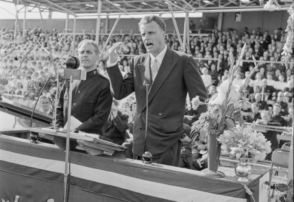 Evangelist Billy Graham speaking to international audience, ca. 1955.  (Courtesy, Norwegian Archives)